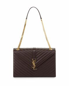 Monogramme Matelasse Shoulder Bag, Bordeaux by Saint Laurent at Neiman Marcus.