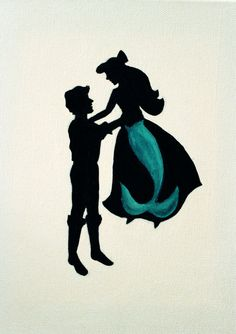 Disney Princess Inspired Silhouette Painting. So cool! I was in The Little Mermaid at our Local theatre group!