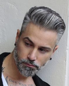 Silver fox my barber shop ✂ hair styles, hair и grey hair Silver Hair Men, Grey Hair Men, Short Hair Cuts, Short Hair Styles, Asian Men Hairstyle, Hair And Beard Styles, Men's Grooming, Moustache, Haircuts For Men