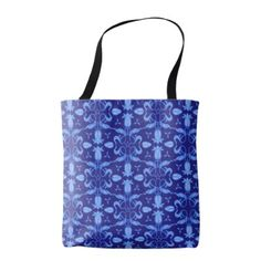 #flower - #Blue tulip patterned floral damask bag