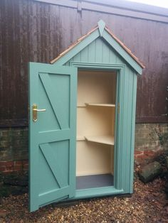 Sentry Box finished in Pea Green with Cream interior. Sentry Box finished in Pea Green with Cream in Small Garden Tool Shed, Garden Storage Shed, Garden Gazebo, Garden Beds, Outdoor Greenhouse, Garden Buildings, Garden Structures, Mini Shed, Craft Shed