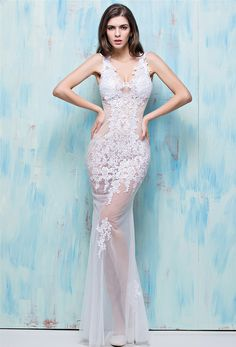 Unusual Sexy Mermaid V Neck White Tulle Lace See Through Evening Prom Dress 3efc27431