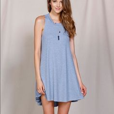 Puella Striped Trapeze Dress Anthropology Sz S Puella blue and white striped trapeze dress with high-low hem. NWOT (it didn't come with tags but it is still in the original bag I received it in). Size small. Anthropologie Dresses Mini