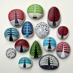 Spring orders #trees #paintedstones #piedraspintadas #sassidipinti #ink…