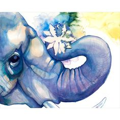 8x10 / Elephant And Lotus on Etsy, $28.00