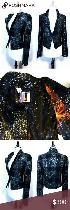 MSGM Black Glitter Frayed Hem Blazer Jacket Great condition. See comments MSGM Jackets & Coats