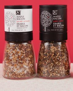 A duo of trendy gourmet salt and pepper to brag about at your next dinner party. (Maple Bacon Sea Salt Grinder, Maple Bacon Pepper Grinder