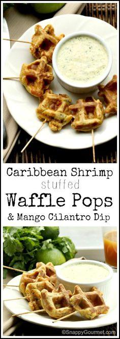 Caribbean Shrimp Stuffed Waffle Pops & Mango Cilantro Dip recipe - fun homemade appetizer or snack | SnappyGourmet.com