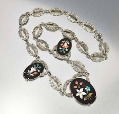 Silver Pietra Dura Mosaic Antique Victorian Necklace