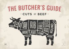 Cut of beef set. Poster Butcher diagram and scheme - Cow. Vintage typographic hand-drawn. Vector illustration Vector