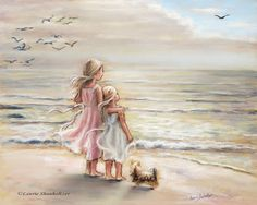 """beach, Girls, sisters, Nursery art print, sea, pastel, """"The Ocean's Lullaby"""" Laurie Shanholtzer Enthralled with the sounds and feel of the wind and sea. Reproduction print of my original pastel painting"""