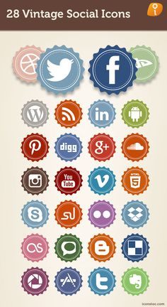 28 Vintage Social Icons                                                                                                                                                                                 More