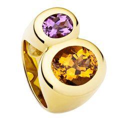 Colleen B. Rosenblat citrine amethyst gold ring