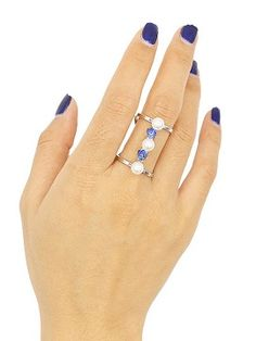 Silver Faux Pearl And Rhinestone Detail Open Ring