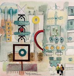 SOLD: Barcelona; mixed media. Resides in the Woodstock area