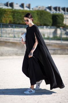 cape maxi dress & adidas sneakers #style #fashion #streetstyle