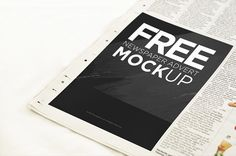 Display your design with this new freebie! Newspaper Ad Mockup