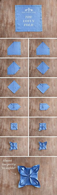 """Your Step-by-Step Guide to Nailing 3 Hot Napkin Folds Take your holiday table the next level by mastering """"The Lotus Fold"""" with your dinner napkins!<br> Take your holiday table to the next level this year by mastering three new ways to. Party Napkins, Dinner Napkins, Dinner Table, Wedding Napkin Folding, Wedding Napkins, Paper Napkin Folding, Christmas Napkin Folding, Simple Napkin Folding, Napkin Folding Flower"""