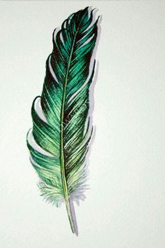 Green Feather Original Watercolor Feather Study by jodyvanB Feather Drawing, Watercolor Feather, Feather Painting, Feather Art, Feather Tattoos, Watercolor Paintings, Pour Painting, Painting & Drawing, Black Feather Meaning