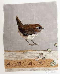 Unframed appliqued wren with embroidery on to vintage quilt fragment Freehand Machine Embroidery, Free Motion Embroidery, Bird Embroidery, Bird Applique, Applique Quilts, Old Quilts, Vintage Quilts, Fabric Birds, Fabric Art