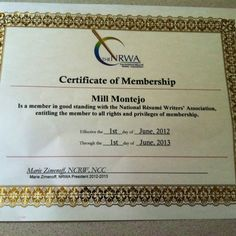 membership certificate national resume writers association