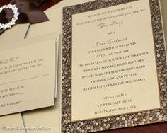 Bronze Embossed Pebble Wedding Pocket Fold Invitation Suite w. Rhinestone Buckle