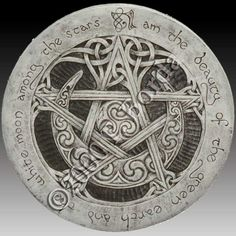 """This pentacle, carved with Celtic knotwork as well as traditional Celtic swirl patterns, was known as the Seal of Solomon. As seen in the tarot, it is a symbol of Earth and Prosperity. The pentacle in its upright position represents the Spirit in balance and harmony with the four elements. The inscription around its edge is from """"The Charge of the Star Goddess"""" and reads: """"I am the beauty of the green earth and the white moon among the stars. #celtic #tattoos"""
