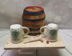 Hochzeitstorte / 3D Torte; Bierfass mit Krügen Beer, Mugs, Tableware, Beer Keg, Wedding Cake, Root Beer, Ale, Dinnerware, Tumblers