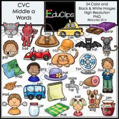 CVC Middle a Words Clip Art Bundle from Educlips on TeachersNotebook.com -  (54 pages)  - CVC Middle a Words Clip Art Bundle