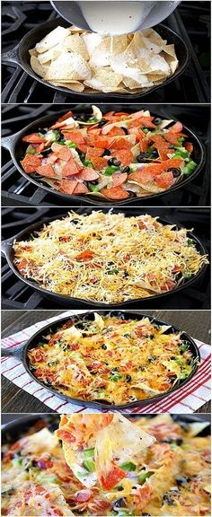 Skillet Pizza Nachos  >> Campfire/Char-Grill Recipes + Skillet/One Pot Cooking