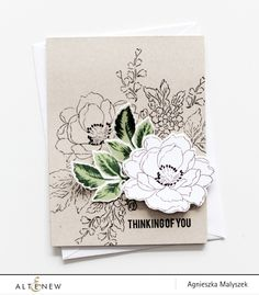 Agnieszka used flower and leaves from Beautiful Day Stamp Set by Altenew. Wondering if I could print a similar digital design twice and fussy cut? Altenew Cards, Stampin Up Cards, Beautiful Handmade Cards, Altenew Beautiful Day Cards, Sympathy Cards, Up Girl, Flower Cards, Creative Cards, Greeting Cards Handmade