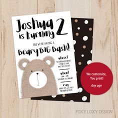 A beary cute party invite for a 2 year old teddy bear birthday bash! Digital Invitations, Printable Invitations, Party Printables, Party Invitations, Teddy Bear Party, Teddy Bear Birthday, Invitation Design, Invite, Old Teddy Bears