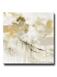 ORIGINAL Art Abstract Grey White Painting Coastal Modern Neutral Greige Taupe Gold Wall Art Decor - Christine Krainock Art - Contemporary Art by Christine - 1