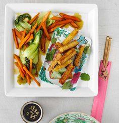 Tofu-Sticks mit Pak choi