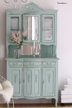The green Buffet Cute Furniture, Furniture Repair, Repurposed Furniture, Painted Furniture, Annie Sloan Furniture, Distressing Painted Wood, Turquoise Furniture, Painted China Cabinets, Antique Cabinets