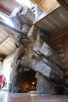 Excellent Options For Diy Fireplace Designs Diy Ideas - Excellent Options For Diy Fireplace Designs Diana Phoneix Stonetree Studios Artificial Rock Fireplace Under Skylights Within Rustic Beamed Home Rock Fireplaces Rustic Fireplaces Home Fireplace F
