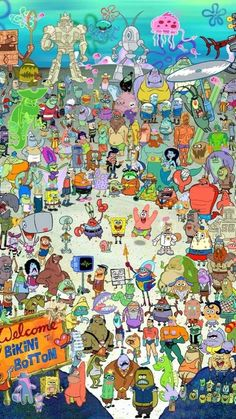 """every spongebob character ever made . Such as the old lady in the wheelchair that says """"chawklette"""" Or the whale that was buried in the sand when spongebob ripped his pants and Stanley Squarepants! Cartoon Wallpaper Iphone, Aesthetic Iphone Wallpaper, Disney Wallpaper, Wallpaper Spongebob, Spongebob Background, Memes Spongebob, Spongebob Squarepants, Spongebob Episodes, Desenhos Cartoon Network"""