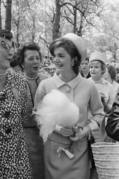"""thosekennedys: """" Look at adorable Jackie with cotton candy and all the women fangirling over her """""""