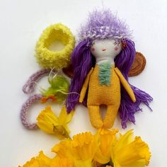 Sweet Tiny Doll Purple Hair Doll Tiny Doll Mini by thedollsunique
