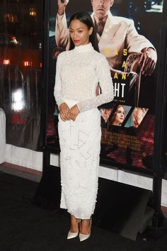 Monochromatic is the statement of the moment, see how Zoe Saldana rocks the cream..#fashion #style #inspiration #chic #clothes