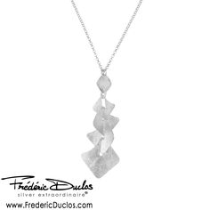 Frederic Duclos Sterling Silver Textured Squares Necklace - available at Daniel Jewelers, Brewster New York