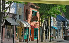 The colorful storefronts in downtown Burlingame.