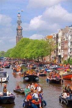 Koninginnedag / Queens day. The Dutch celebrating the anniversary of the queen