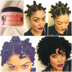 @candicoatedcurls Pictorial, bantu knots: I started on freshly washed and stretched hair (stretched overnight) that I blew out on a cool setting. I used only one product to style camillerosenaturals Almond Jai Twisting Butter. I applied the twisting butter to each section, brushed through until smooth, created a bantu knot and secured with a bobby pin. I made about 22-24 bantu knots total. I let the knots set for a few hours and then carefully unraveled each, separated & used a pick to…
