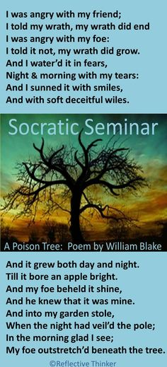 Socratic Seminar & Poetry Analysis Activities: A Poison Tree by William Blake School Resources, Teacher Resources, Teaching Ideas, Thinking Skills, Critical Thinking, Poison Tree, Middle School, High School, Teaching Poetry