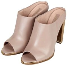 Pre-owned Topshop Blush Pink Mules ($172) ❤ liked on Polyvore featuring shoes, blush pink, tops, slip on mules, topshop shoes, leather slip on shoes, pre owned shoes and genuine leather shoes