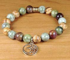 Gemstone Om Bracelet Om Bracelet Yoga by LarisJewelryDesigns