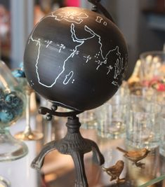 Chalkboard globe insures that your endless tales of world travel won't be that boring.