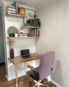 Working from home goals! @thethingsthatshedoes has used the offcuts from our vic ash timber benchtops she used in her kitchen to create this gorgeous study nook. How could you not be productive working in this space? . . . #kaboodle #kaboodlekitchen #kaboodlestudy #studynook #workingfromhome #designideas #benchtopsasshelves #savvydesign Timber Benchtop, Study Nook, Office Desk, Corner Desk, Ash, Shelves, Goals, Trends, Space