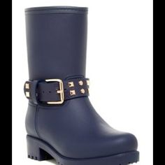 """Maya Studded Boat Navy Blue Boots True to size.  Round toe.  Synthetic construction.  Studded buckle detail.  Pull-on. Lightly padded footbed. Approximately 8"""" shaft height. 11"""" opening circumference.  Approximately 1.5 heel height.  Imported.  Man made upper and sole. Modern Rush Shoes Ankle Boots & Booties"""